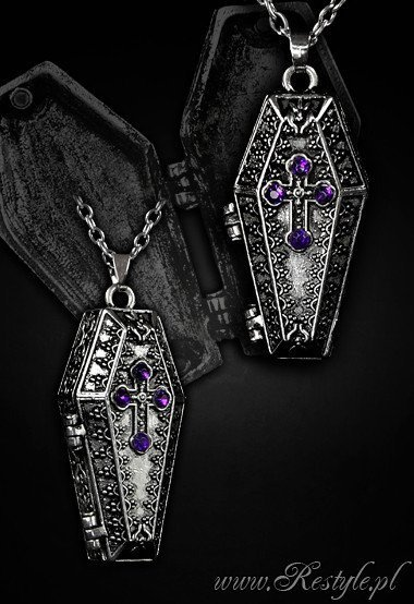 """COFFIN CHEST"" locket pendant, compartment, funeral necklace"