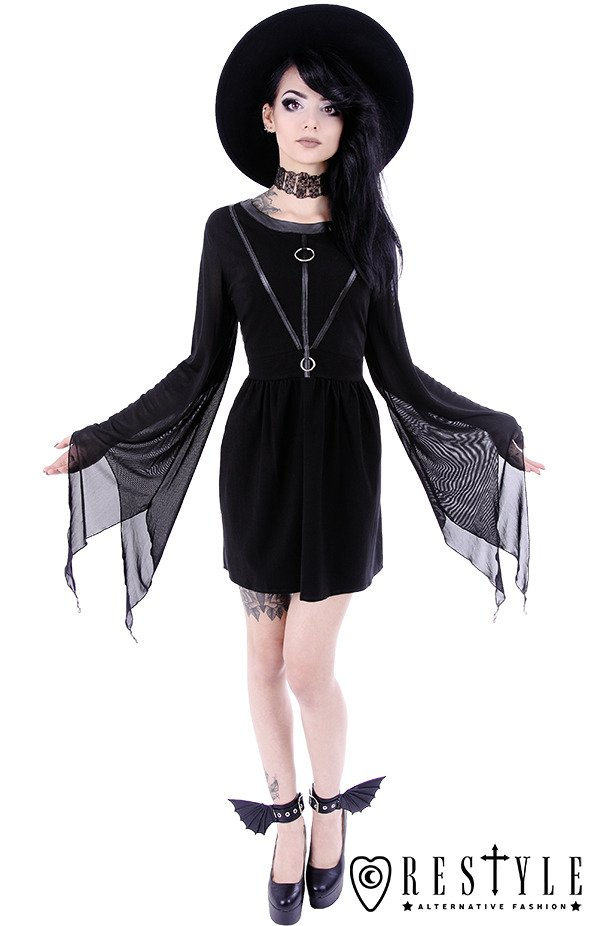 """COVEN TUNIC"" Black gothic dress, leather straps, witchcraft fashion"