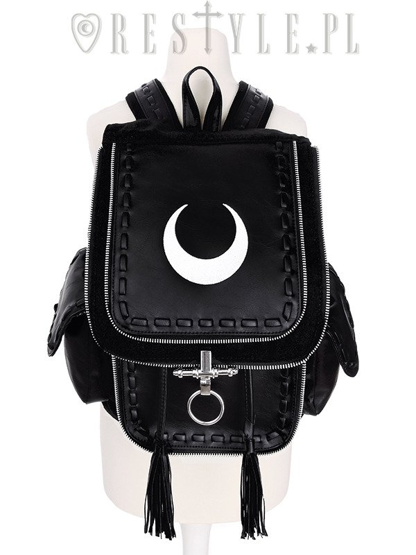 """CRESCENT WHITE BACKPACK"" with pockets, School bag, 90s backpack moon bag"