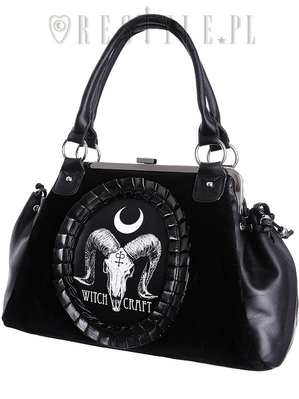 "Cameo bag ""RAM SKULL WITCHCRAFT"" Black Velvet, gothic, occult handbag"