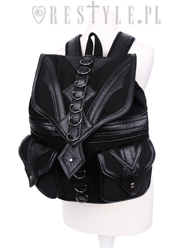 """DRAGON BACKPACK"" with pockets, Black School bag, 90s backpack"