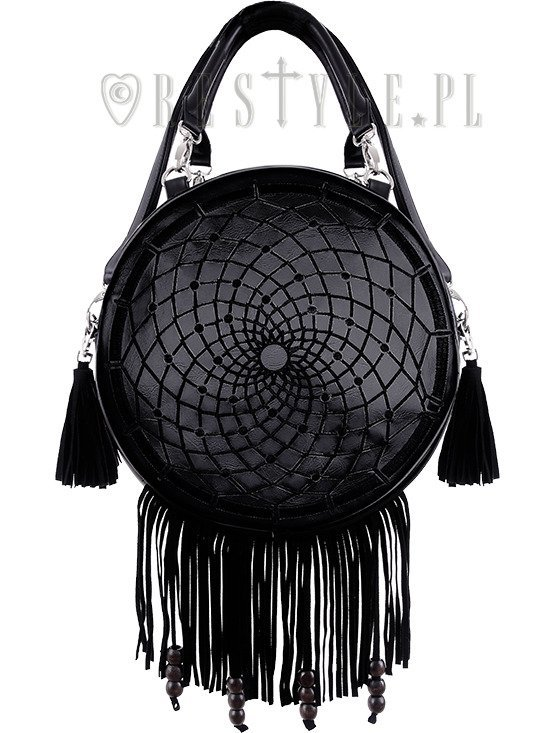 """DREAM CATCHER BLACK"" Gothic embroidery handbag, boho purse fringe & tessels"