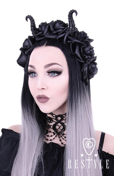 Diabolical & Roses headband, Gothic Wreath, Maleficent headpiece