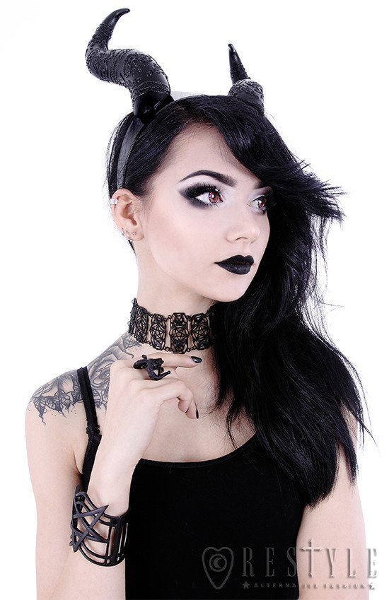 EVIL HORNS, Gothic Headpiece, Black headband, satan horns