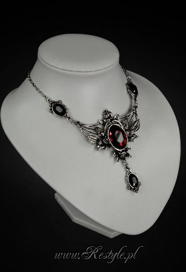 "Evening necklace ""WILD ROSES"" roses and burgundy stone"