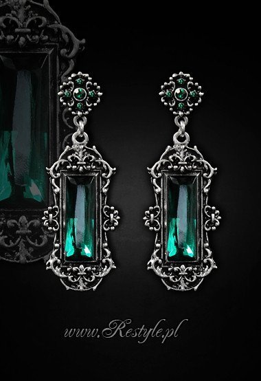 "Evening, victorian earrings ""VIVIAN MINT"" gothic romantic jewellery"