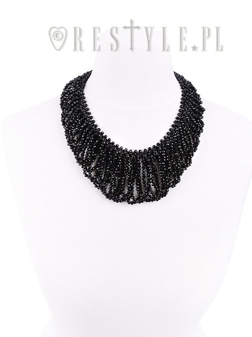 """FRANCES CHOKER"" Big evening collar, black beaded choker, gothic necklace"