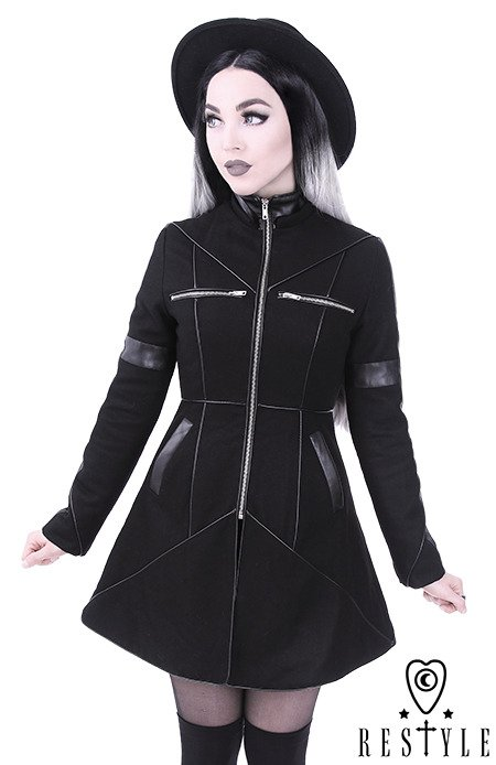 """GEOMETRY COAT"" Black winter jacket with pockets, detachable hood, wool"