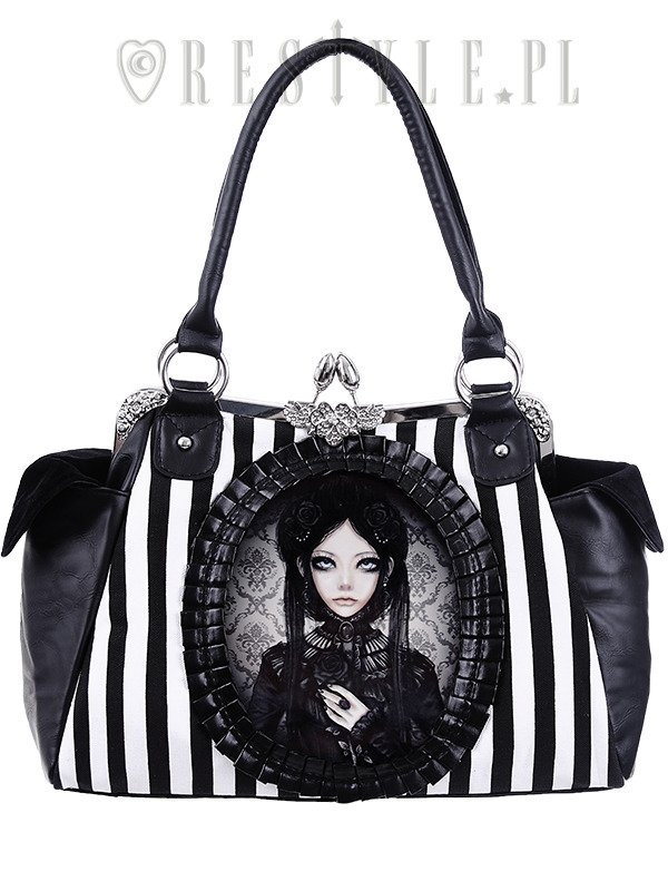"""GREY DOLL"" gothic lolita handbag, black and white stripes"