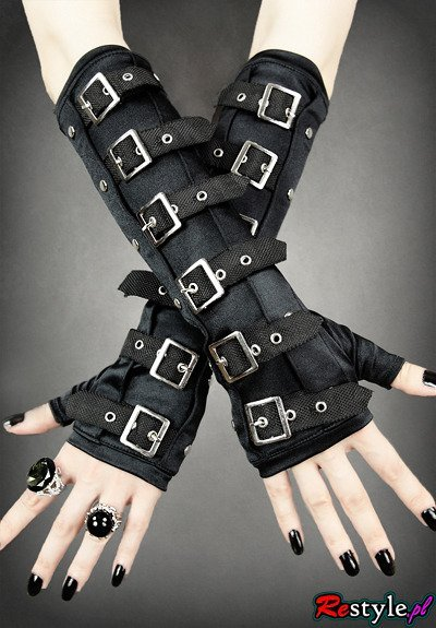 Gothic arm warmers gloves with buckles