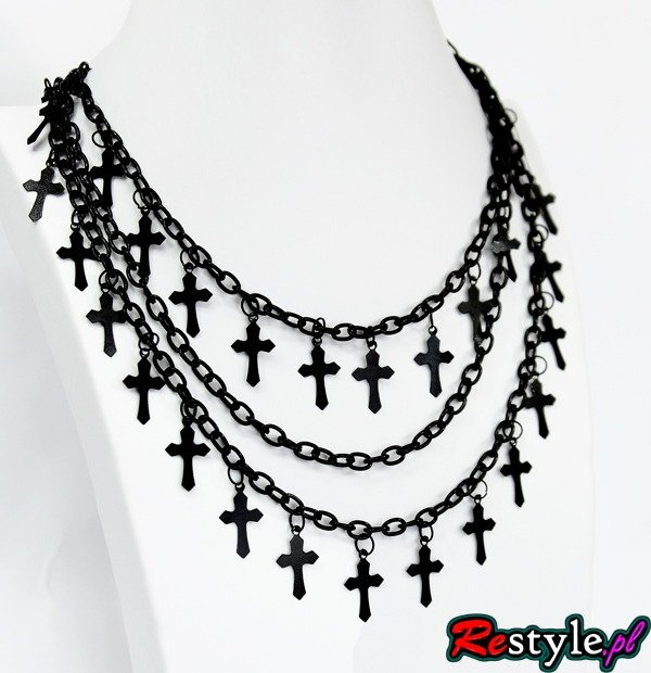 Gothic necklace with black crosses