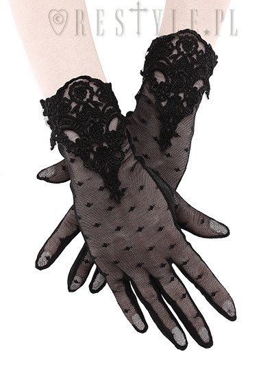 """Guipure Gloves"" Gothic dotted gloves with lace decoration, romantic"
