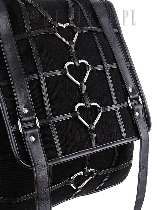 """HEAVY HEART BACKPACK"" Black Gothic Bag, Harness Heart, square backpack"