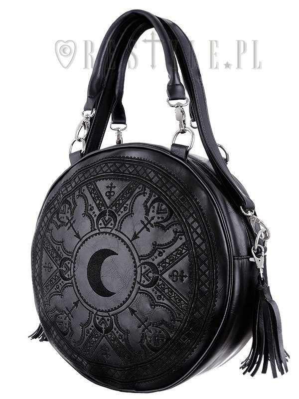 """HENNA BLACK ROUND BAG"" Moon embroidery handbag, witchy purse with moon & tessels"