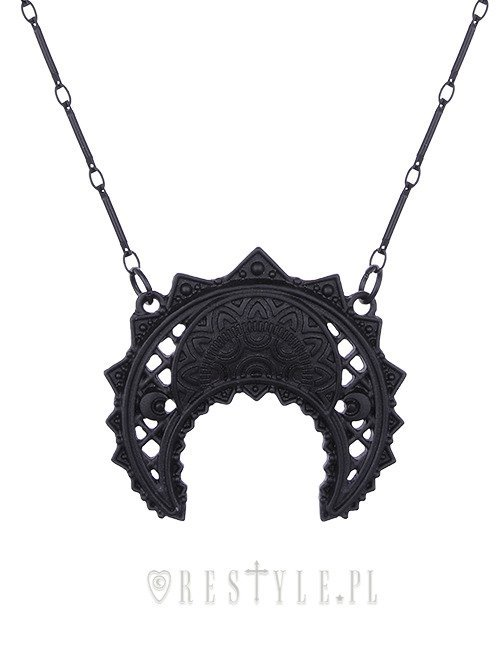 """HENNA CRESCENT BLACK PENDANT"" oriental necklace, moon themed jewellery"