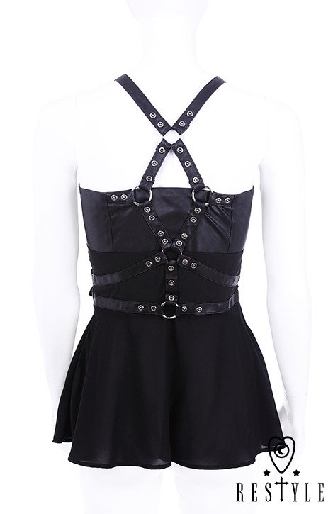 """Harness Blouse"" Black shirt with basquine, leather straps, o-rings, witchy"