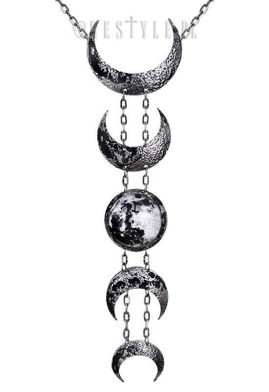 """LUNAR SILVER NECKLACE"" Crescent long pendant, occult jewellery, luna"