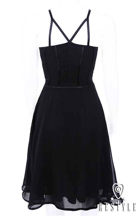 """LYDIA DRESS"" Black pin up dress, harness arm straps"