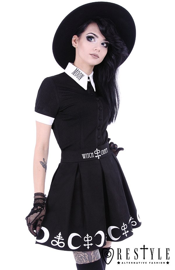 """MOON CHILD SHIRT""  White collar with embroidery, gothic blouse"