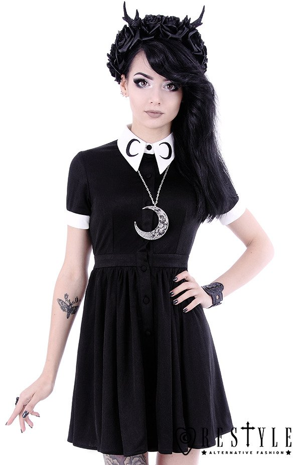 """MOON DRESS""  White collar with moon symbol, circle, gothic dress"