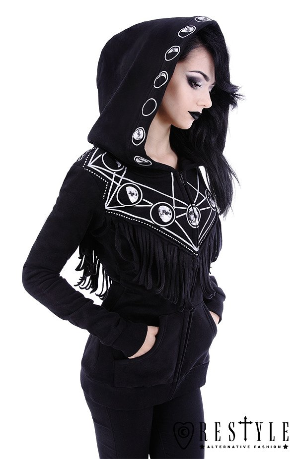 """MOON GEOMETRY HOODIE"" occult blouse with pockets, oversized hood, moon phases"