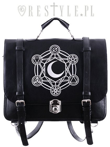 """MOON MESSENGER"" Bag & Bacpack, black satchel, alchemical symbols"