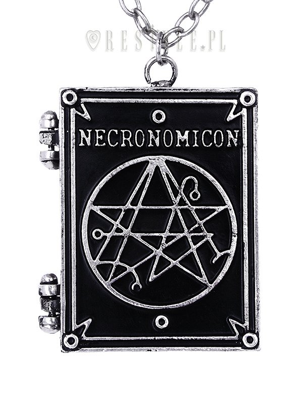 """NECRONOMICON BOOK"" Locket pendant, book shaped necklace, occult jewellery, crescent"
