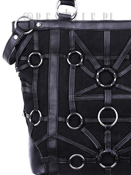 """O-RING TOTE BAG"" Black, harness Purse, occult, black fashion"