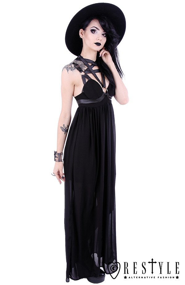 """PENTAGRAM DRESS"" Black long gothic dress, leather straps, o-rings, witchy"