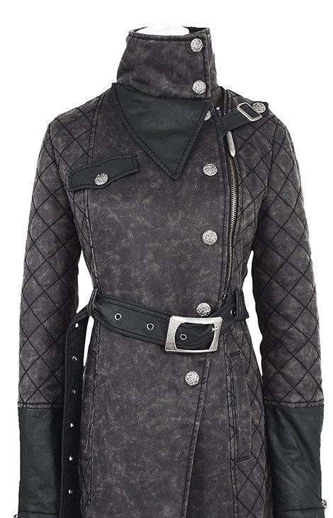 PUNK RAVE Y-558 Military warm Coat autumn, winter jacket, acid wash