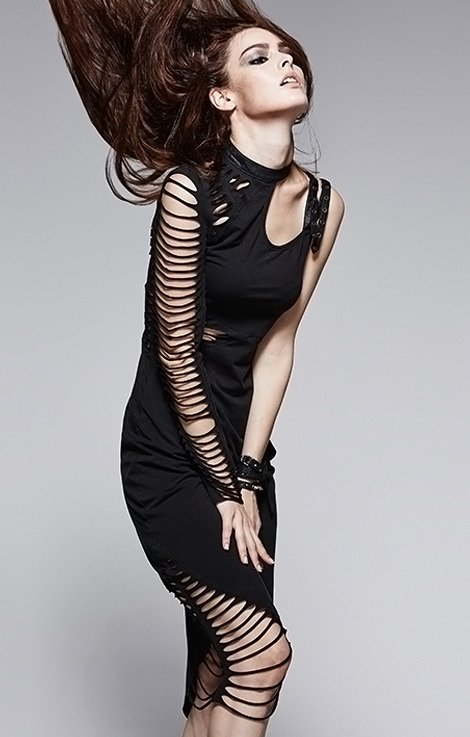 Q-247 PUNK RAVE Tight Gothic Dress asymmetric Ripped