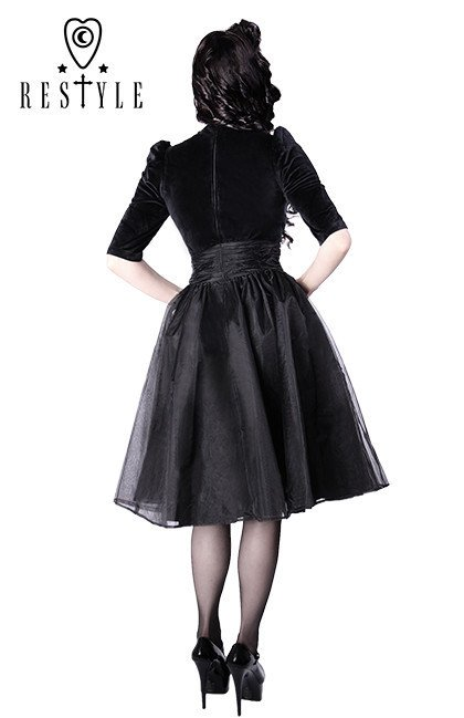 R-14 BLACK VELVET DRESS pin up 50' heart neckline, organza