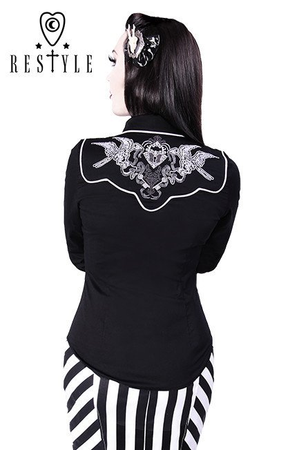 R-29 Deadly Swallows shirt embroidery, rockabilly, country blouse