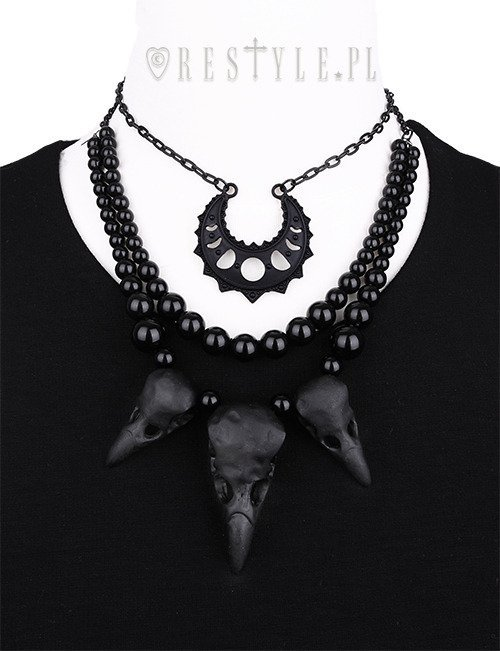 """RAVEN TALISMAN"" Black Necklace with crow skulls, gothic pendant, bird skull"