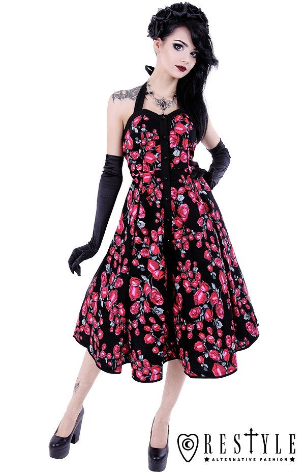 """ROSES DRESS"" Pin up dress, 50' style, retro skirt, evening circle dress"