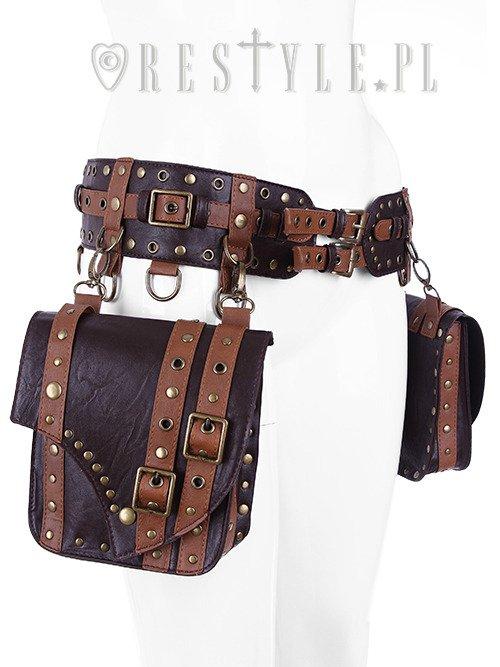 Steampunk utility belt pocket belt saddlebag belt brown - Steampunk bett ...