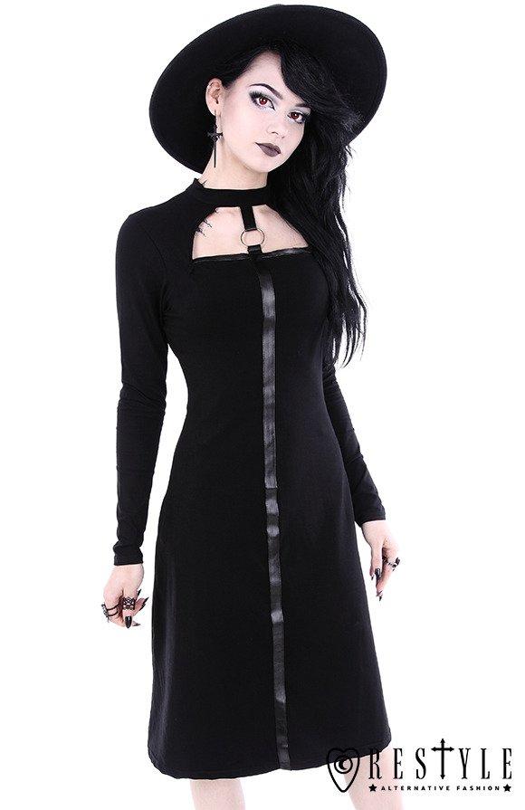"""SCARLETT DRESS"" Black gothic dress, leather strap with o ..."