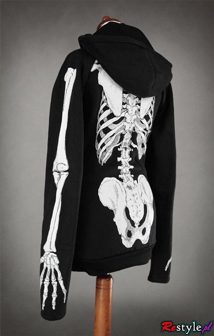 SKELETON HOODIE long horror jacket with big hood