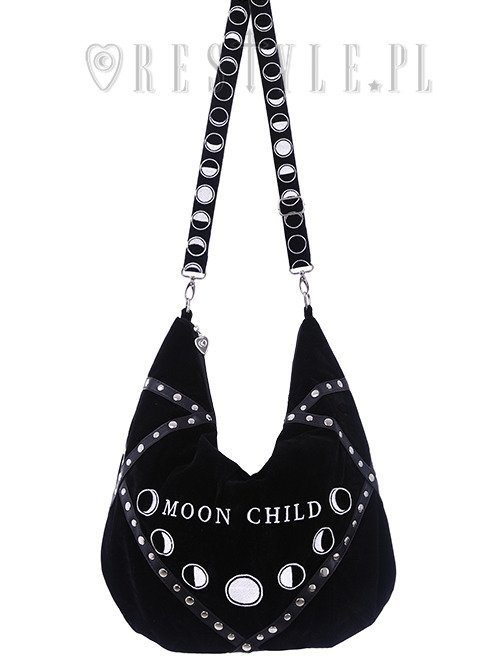 "Sack Bag ""MOON CHILD"" Black velvet hobo bag, moon phases embroidery"