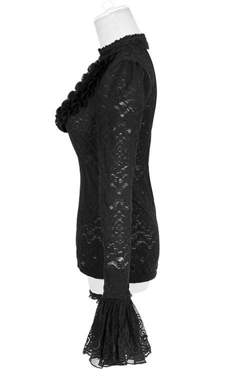 T-372 PUNK RAVE black, gothic blouse with widened sleeves and lace.