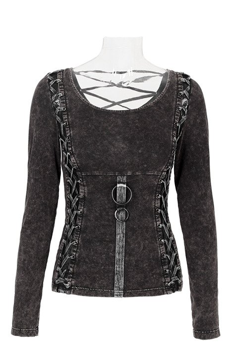 T-378 BLACK PUNK RAVE steampunk blouse, O-ring, corset lacing
