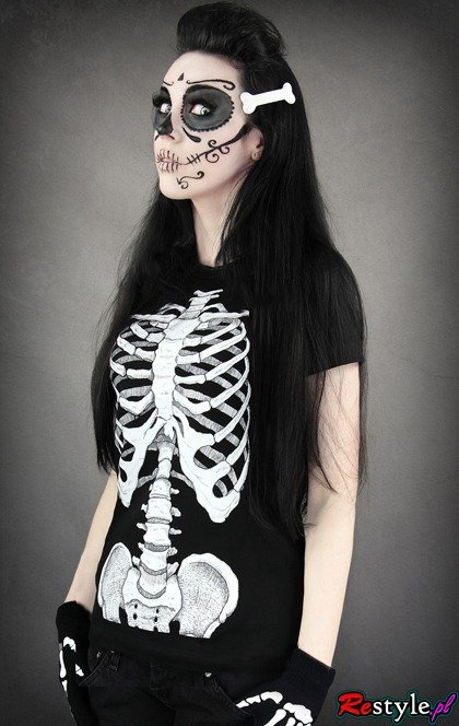 T-shirt Human skeleton ribs and pelvis X-ray