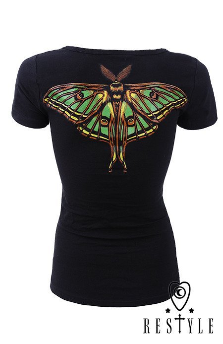 "T-shirt ""MOON MOTH"" print on the back, black blouse with wings"