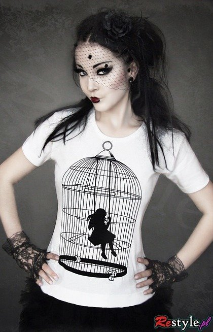 T-shirt with a girl in a cage