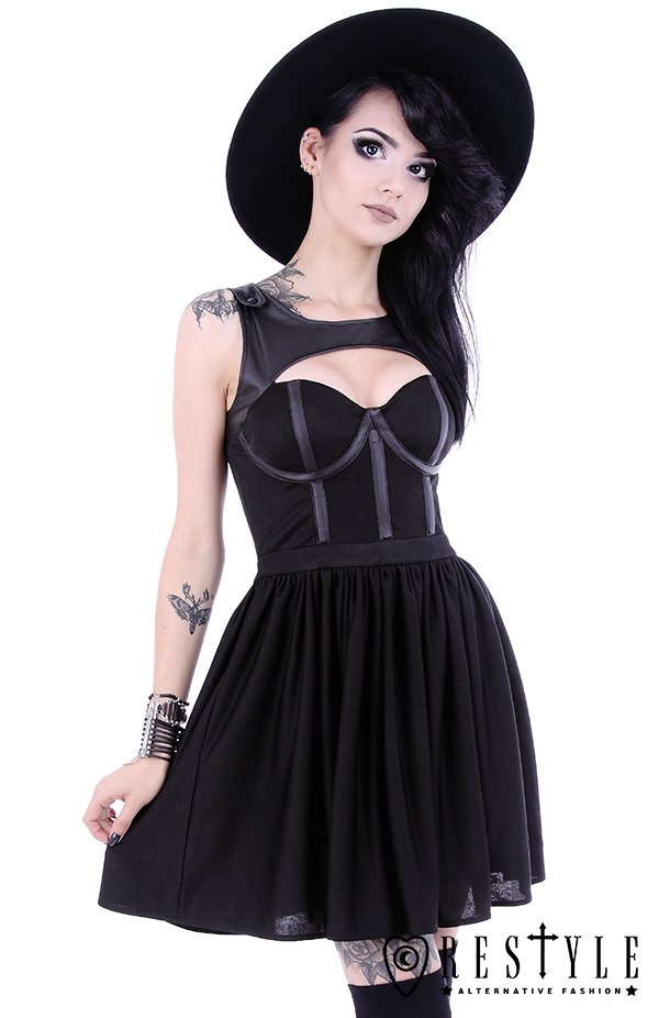 """TAINTED LOVE DRESS"" Black gothic dress, leather straps, witchcraft fashion"