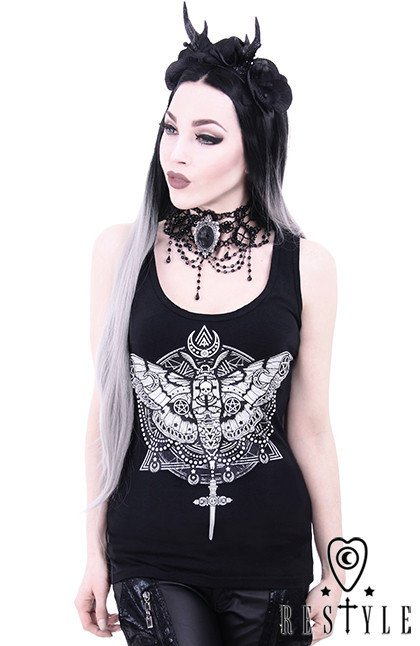"Tank top ""OCCULT MOTH"" Dark symbols, Gothic blouse, black singlet"