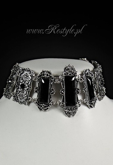 """VIVIAN BLACK"" CHOKER gothic, victorian necklace, rectangle stones"
