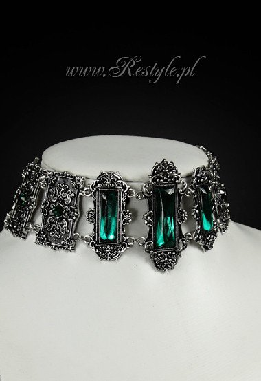 """VIVIAN MINT"" CHOKER gothic, victorian necklace, rectangle stones"