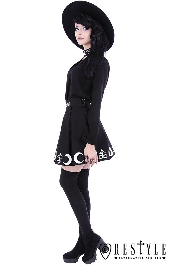 """WITCHCRAFT SHIRT"" Witchy shirt with triangle neckline, embroidery, gothic blouse"