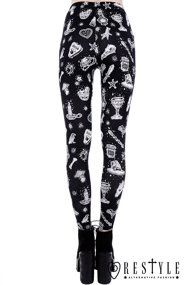 """WITCHY LEGGINGS"" Black gothic leggings Magic print occult trousers"